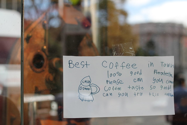 Thursday: v sweet note in the cafe window