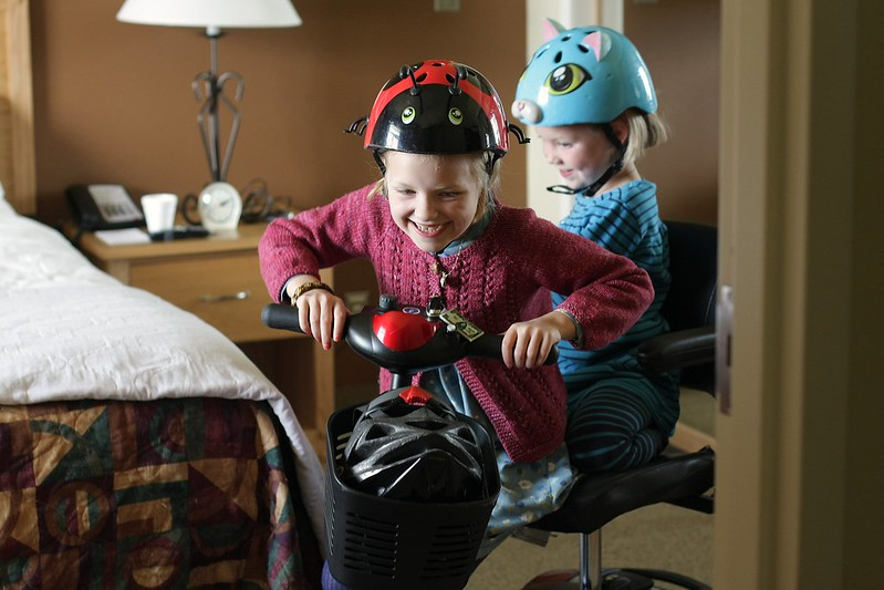 taking grandma's scooter for a ride in her hotel room