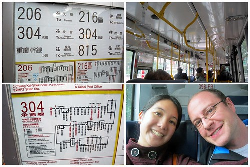 Mei and Dan on the bus and the bus schedule.