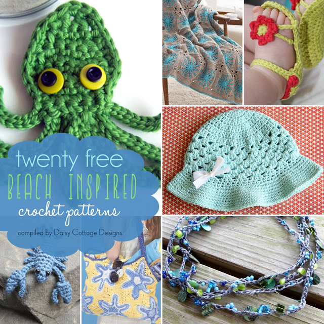 Check out this adorable beach inspired roundup of free crochet patterns. Whether they're a replica of something found under the sea, or just inspired by the colors of the ocean, these will all get you in the mood for that upcoming beach vacation.
