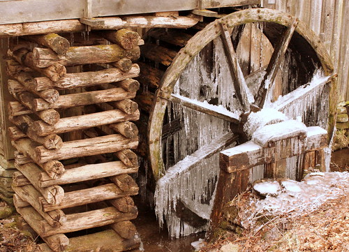 Cades Cove: Cable Grist Mill cribbing and frozen waterwheel