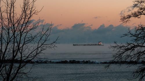 winter wisconsin sunrise lakemichigan milwaukee laker seasmoke americanmariner