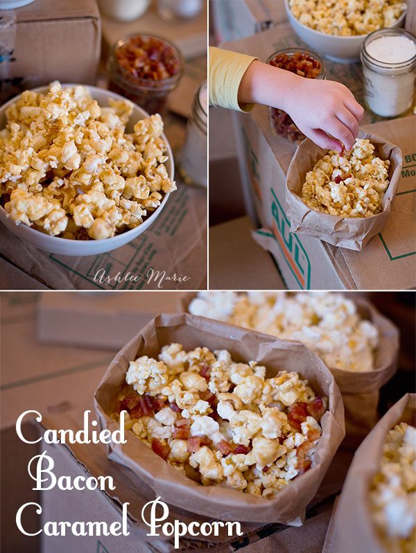 I love candied bacon on pretty much everything, and it's great on caramel popcorn