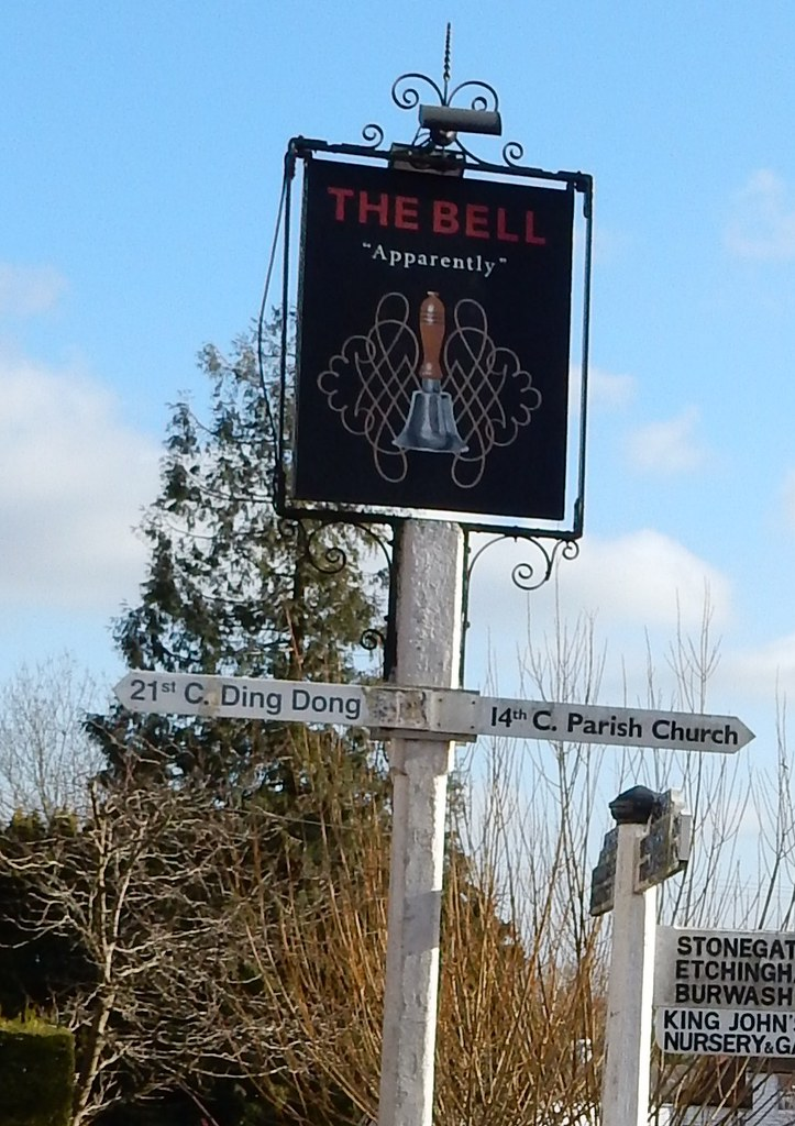 Slightly amusing sign Outside the Bell in Ticehurst. Etchingham to Wadhurst