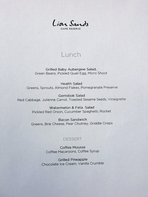 Lion Sands Private Game Reserve- Lunch Menu