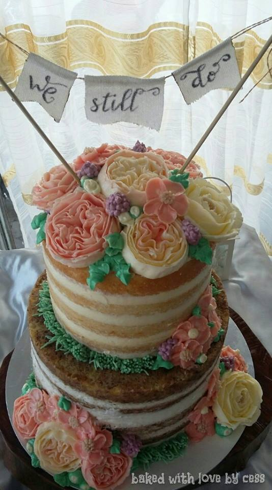 Wedding Cake with Handpiped Flowers and DIY Cake Banner by Cess Rayray