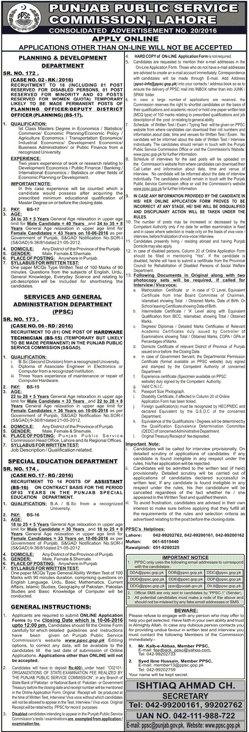 Punjab Public Service Commission Advertisement Number 20-2016