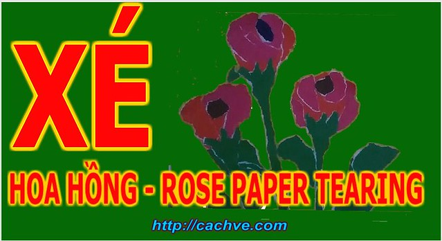 Xé dán Bó Hoa Hồng | Rose Bunch Paper Tearing Picture For Kids