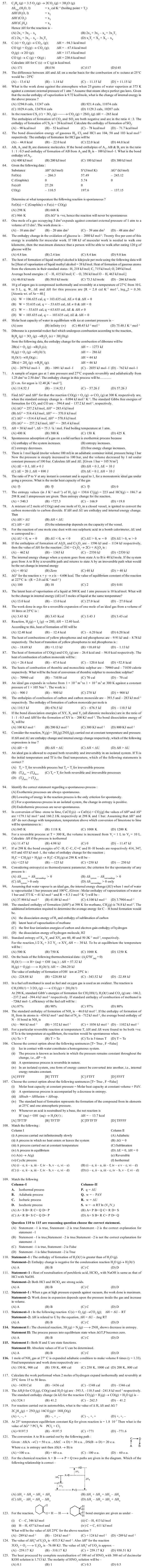 JEE and AIPMT Question Bank Chemistry - Chemical Thermodynamics