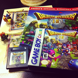 Dragon Warrior I & II on the Game Boy Color plus strategy guide. #dragonwarrior #dragonquest #nintendo #enix #squareenix #gameboy #gameboycolor #retrogaming #videogames #gamer #retrocollective #toys #figures #japan #8bit #nes #ドラクエ #ドラゴンクエスト