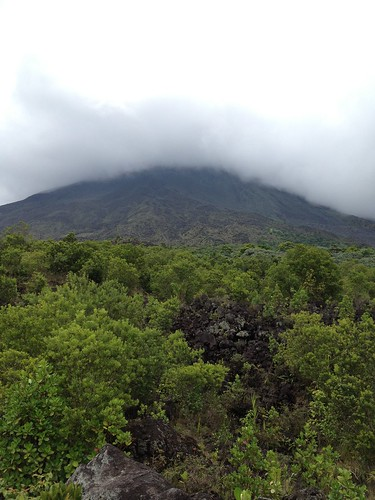 Arenal volcano was covered with clouds during time we stayed there