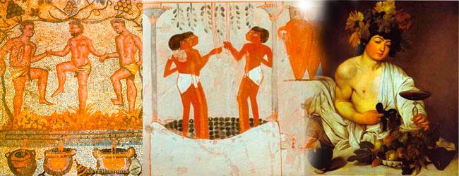 Mosaico de mérida, cuadro egipcio y Baco, dios romano del vino