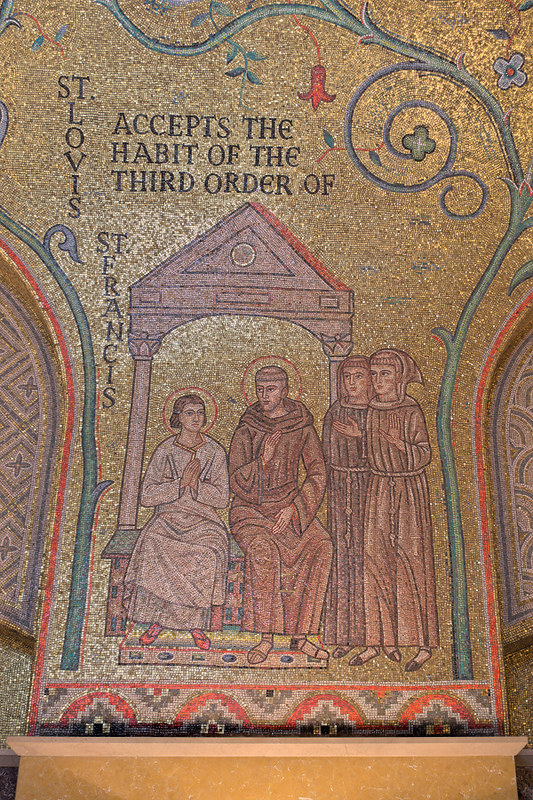 Cathedral Basilica of Saint Louis, in Saint Louis, Missouri, USA - mosaic 8 in Narthex - St. Louis Accepts the Habit of the Third Order of St. Francis