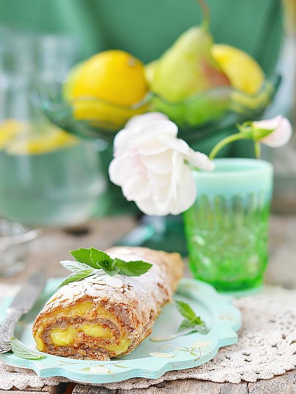 meringue and lemon curd roulade.2