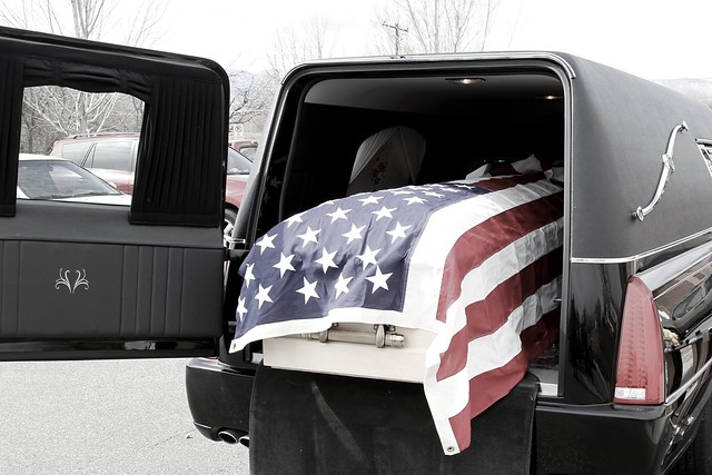 9261 flag-draped casket