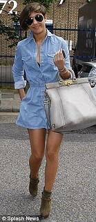 Frankie Sandford Denim Dress Celebrity Style Women's Fashion