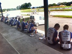 VEBR13 stopped for lunch at a race track. Rolling hills this morning. Baguette for lunch was yummo