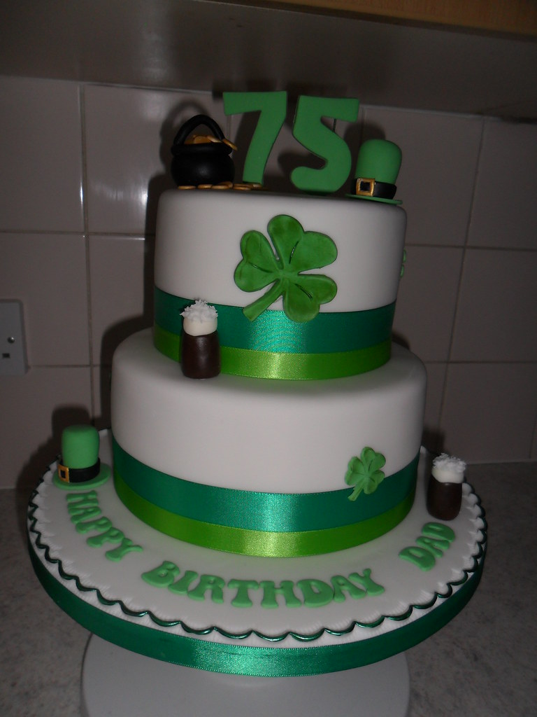 Irish 75th 2 Tier Clover Guiness Happy Birthday Cake A Photo On