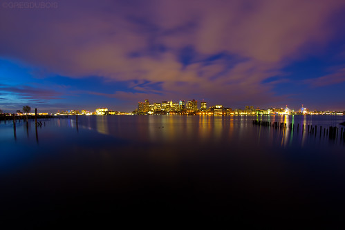 Break of Dawn over Boston Skyline and Harbor, Lo Presti Park East Boston by Greg DuBois Photography