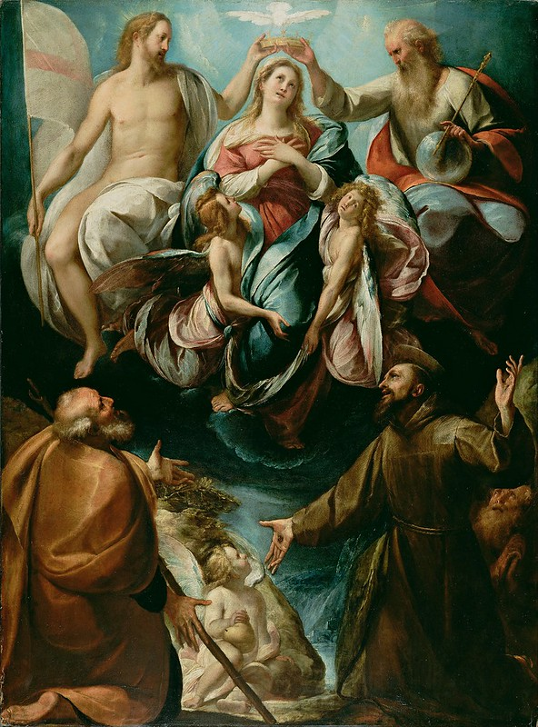 Giulio Cesare Procaccini (Italian (Bolognese) - Coronation of the Virgin with Saints Joseph and Francis of Assisi