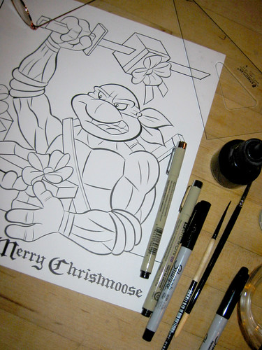 "TEENAGE MUTANT NINJA TURTLES :: ""MERRY CHRISTMOOSE"" .. pencils by Bruce Hatten, inks by Ryan Brown - inking iv (( 2013 ))"