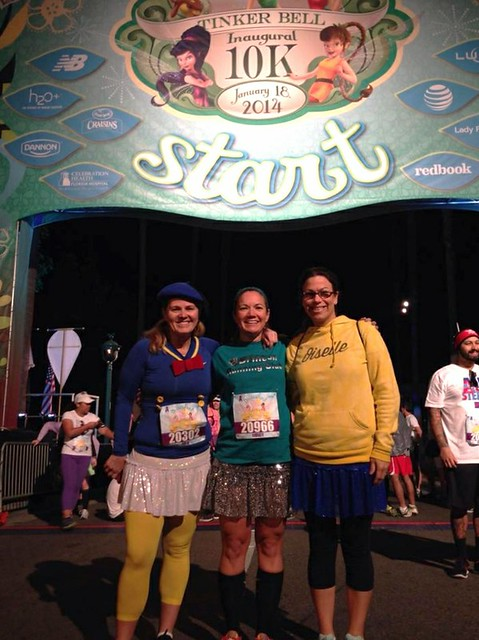Julie, Mindy, and Victoria at the runDisney Tinker Bell 10K