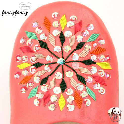 79.繽紛糖果MIX亮片刺繡皮拖鞋(摩洛哥製)-粉紅色2