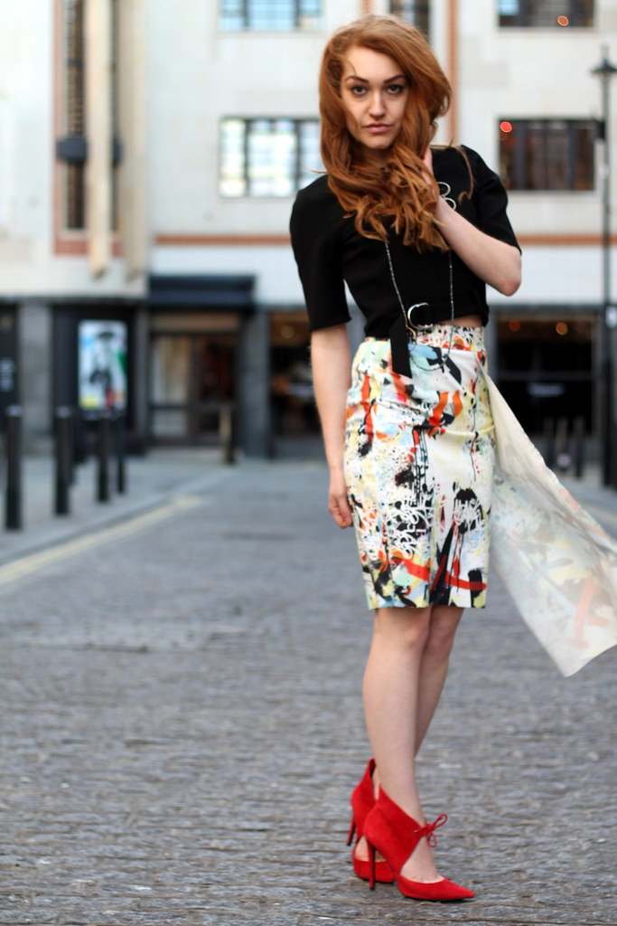 Zara PRINTED ASYMMETRIC SKIRT (3)