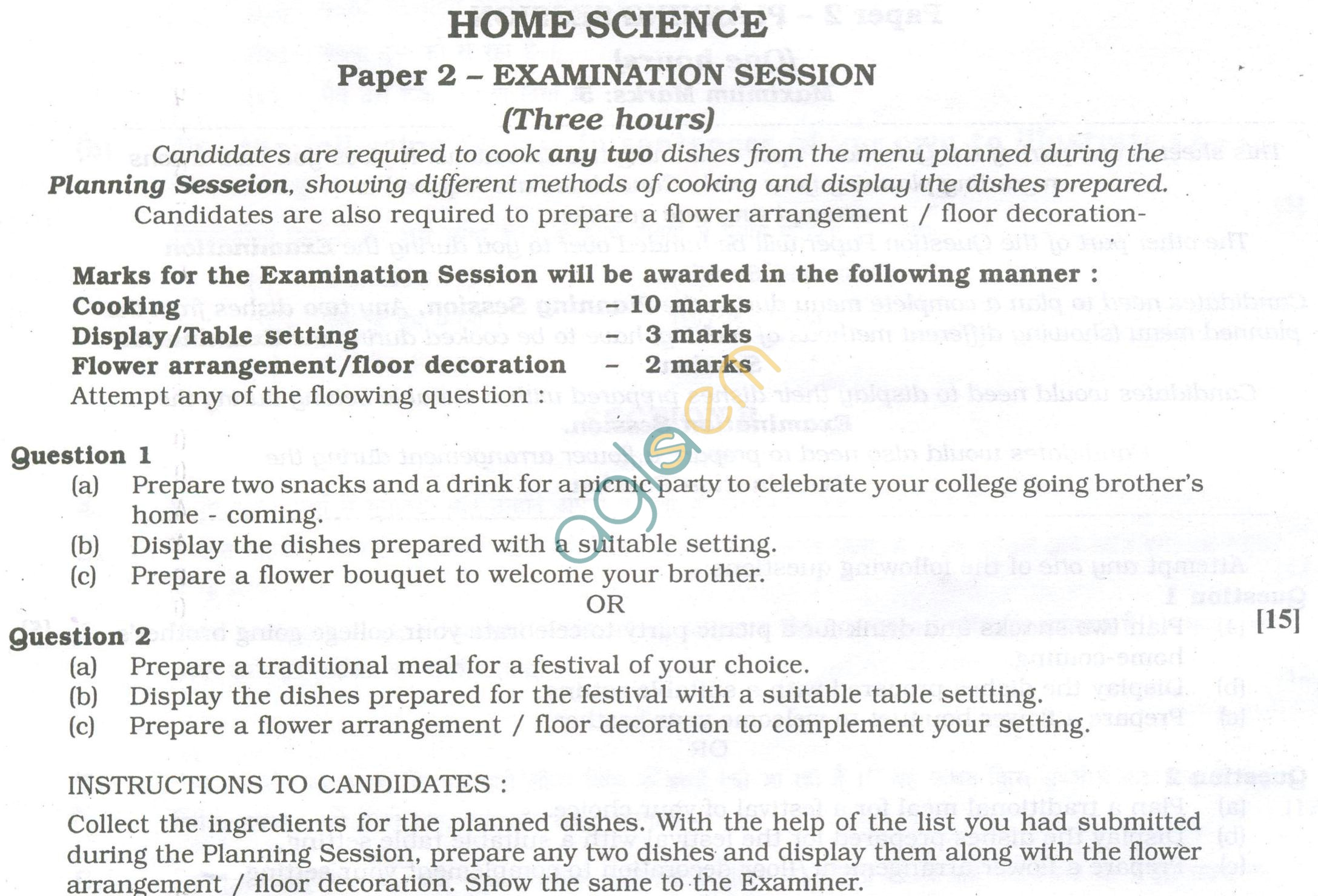 ISC Question Papers 2013 for Class 12 - Home Science Examination Session