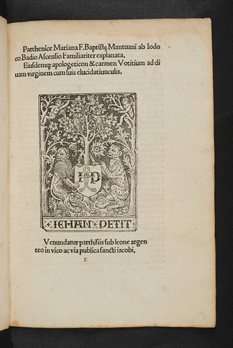 Title-page with printer's device in Baptista Mantuanus: Parthenice prima sive Mariana