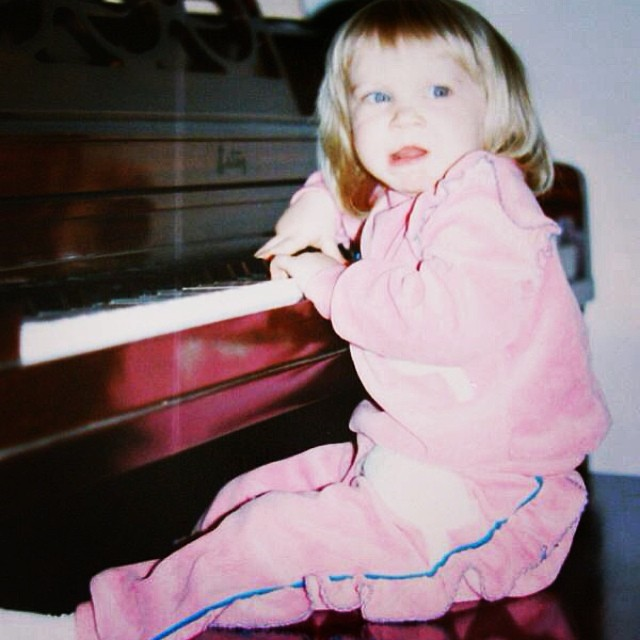 throwback thursday: me at my grandparents' piano. Probably about the same age M is now? #tbt