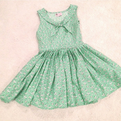 Sarah Leoraa Green Sailor Inspired Floral Sundress