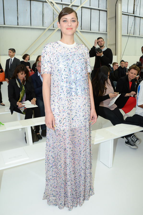 Marion Cotillard attends the Christian Dior Cruise 2015 fashion show in Brooklyn.