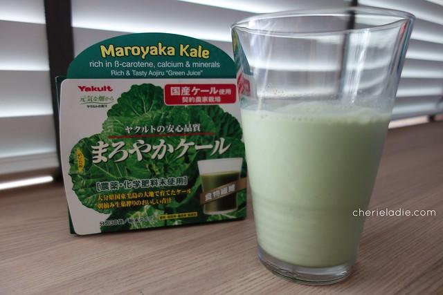 Healthy, yummy glass of Maroyaka Kale - all ready to be drank!