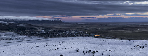 sunset panorama landscape iceland greenhouses hveragerði steamplumes