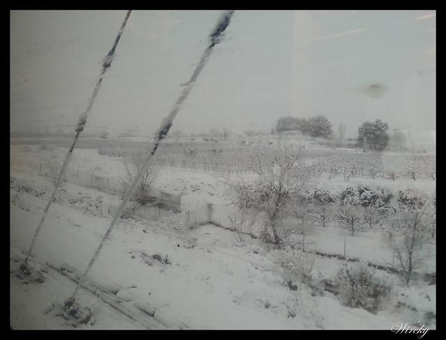 Comenzando a nevar en Lleida
