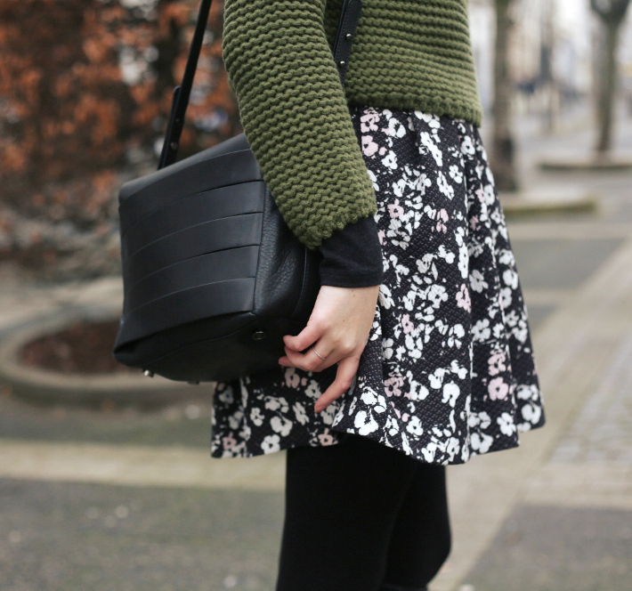 and other stories handbag, naf naf floral skirt