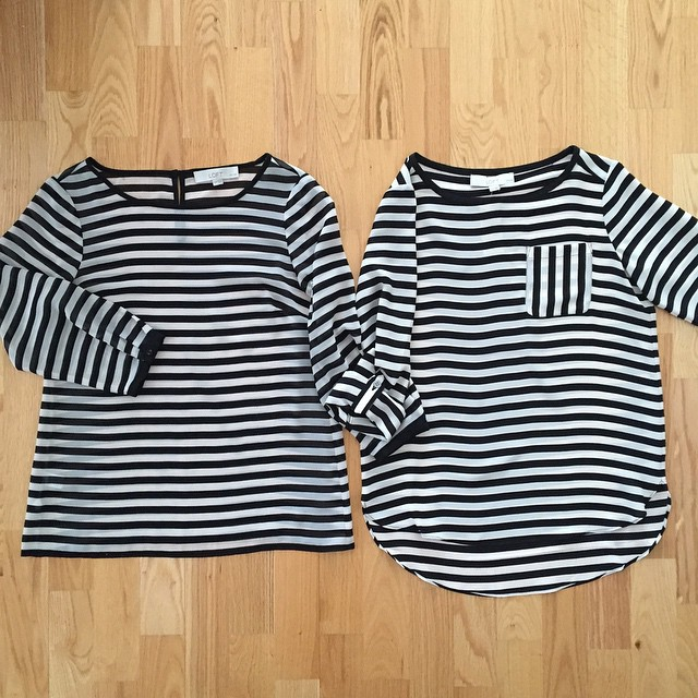 Obsessed with this year's @loftgirl bold #stripe pocket blouse (RIGHT).  The hi-lo shirttail hem is very cute and the poly material is slightly thicker compared to last year's version which was very sheer (size XSP on LEFT). I found that it runs