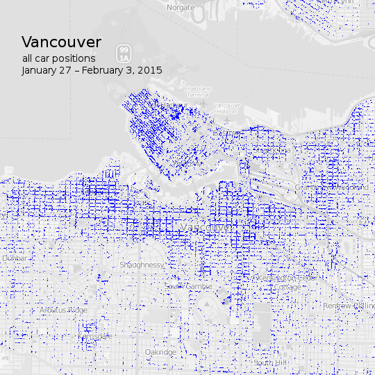 Map of car2go vehicle positions around central Vancouver