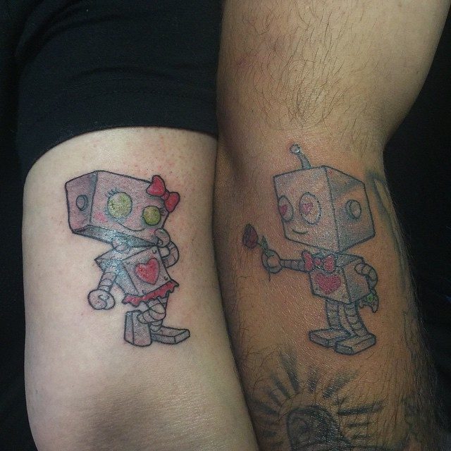 Couple matching  tattoos.. Valentine special.. #zoombie #love #lovebots