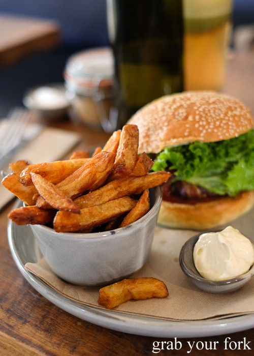 Wagyu burger and hand-cut chips at Blackboard Coffee, Varsity Lakes, Gold Coast