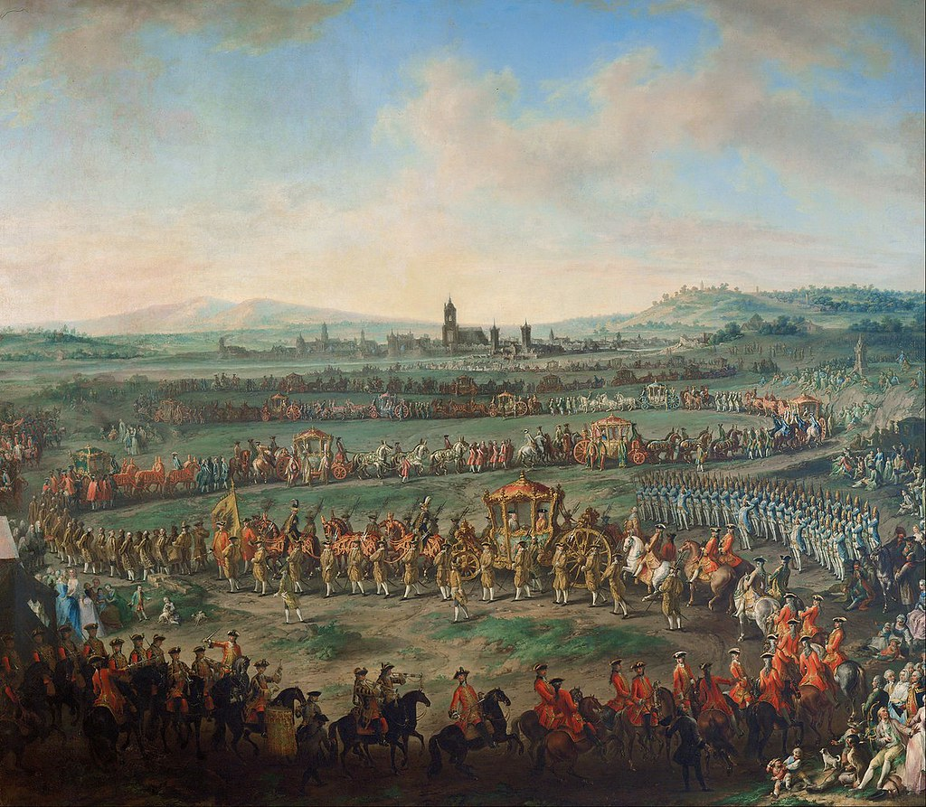 Entrance of the Emperor Franz I. Stephan and his son Joseph (II.) into Frankfurt on March 29, 1764 by Johann Dallinger von Dalling, 1767
