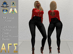 AGS INC. Womens Hearts Blouse With High Rises Jeans with Appliers