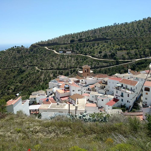 Sorvilán with the Mediterranean Sea in the background, sits in the lower Alpujarras mountain region.