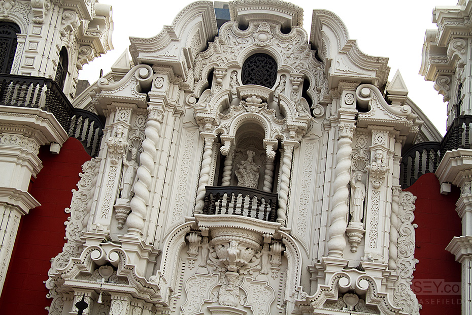Ornate facades dominate Lima's city centre blocks.