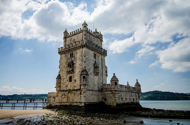 The Tower of Belém at the edges of the Tagus River in Lisbon, Portugal.