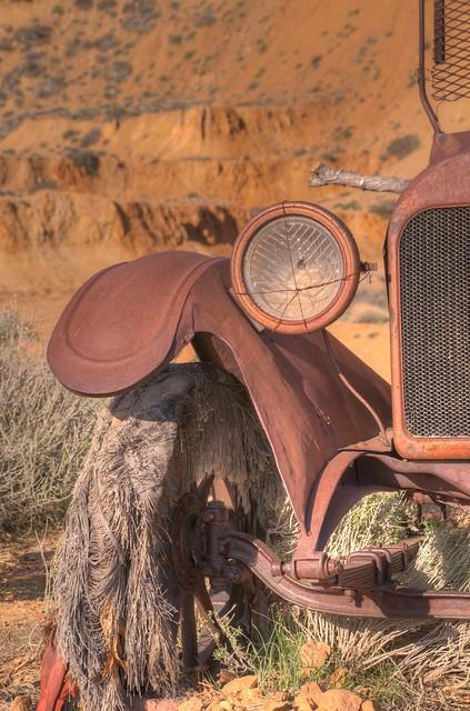 Disintegrating tire on old Oakland car in Virginia City, Nevada