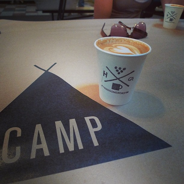 Totally roughing it with a @handsomeroaster pop-up at @theuniquecamp.