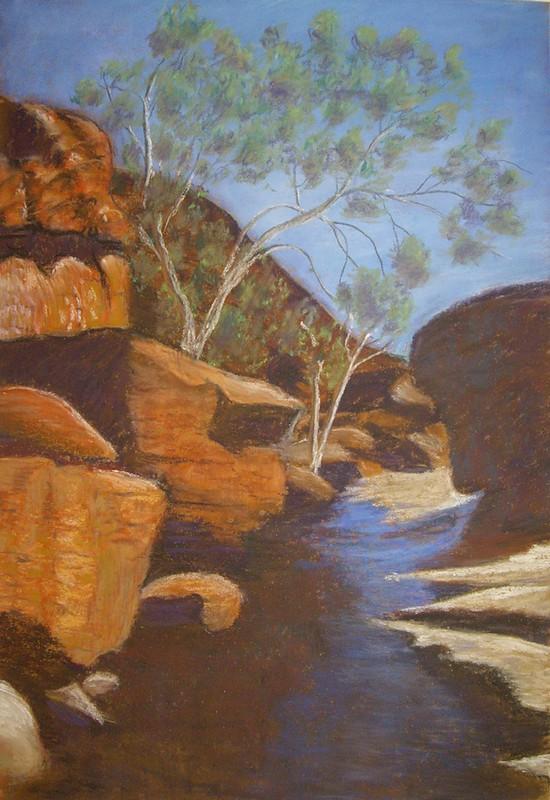 Central Australian desert pastel painting - final