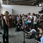 Sat, 22/06/2013 - 3:57pm - New York City's Lucius performs under the giant Phoenix at MASS MoCA. Photo by Laura Fedele